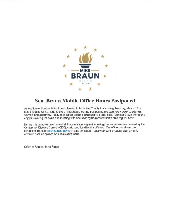 Braun Visit Postponed